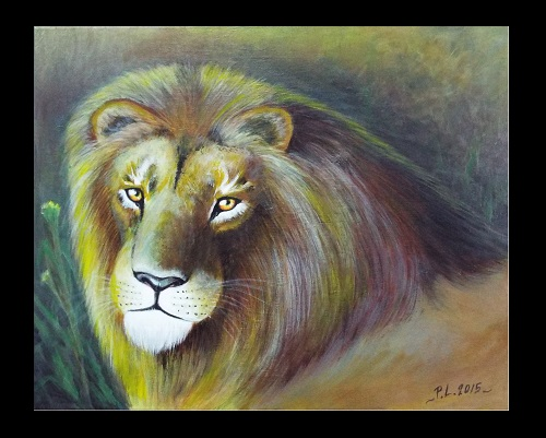 Acrylic on Canvas Lion Portrait