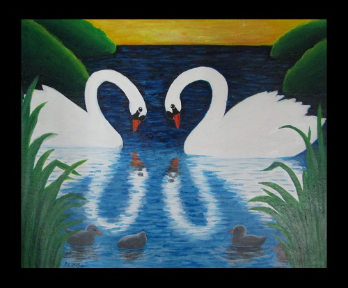 Canvas Art Swan and Reflection