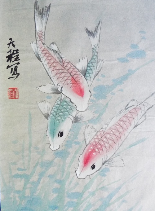 Chinese Painting Koi fish