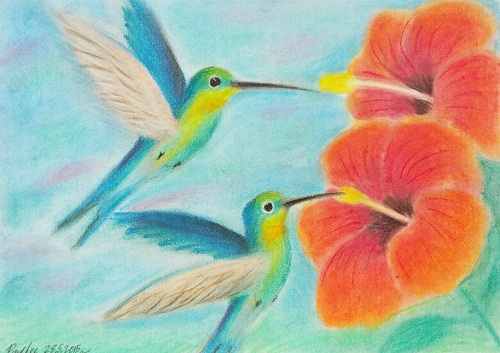 Pastel Painting Hummingbirds