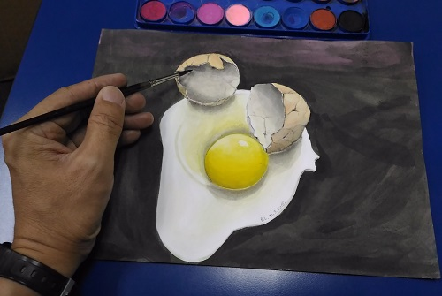 Watercolour painting egg yolk