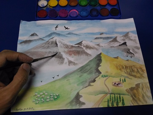 Scenery with watercolour