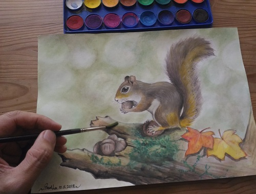 Art demo Watercolour painting Squirrel