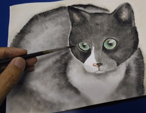 Watercolour painting cat