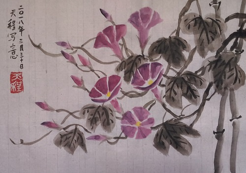 Chinese painting Morning Glory