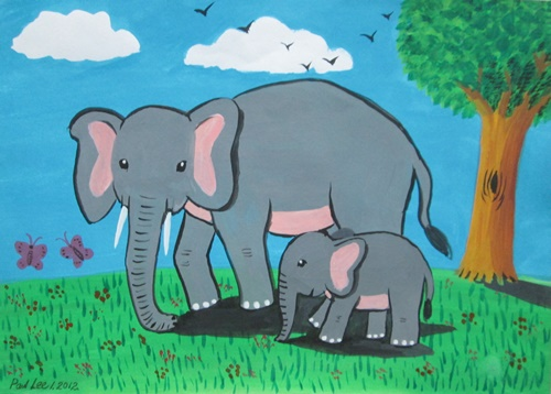 Children Art Poster Painting Elephants