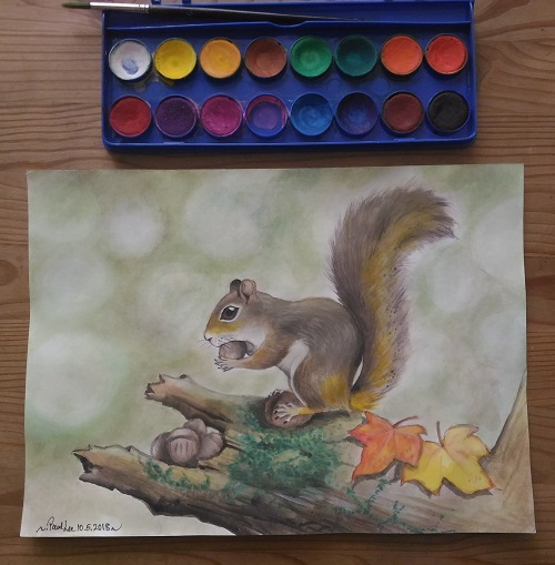 Watercolour Painting Squirrel