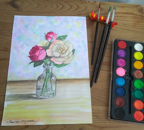 Watercolour Painting - Vase and flowers