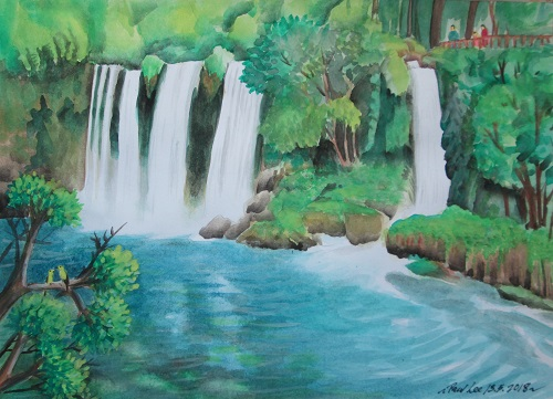 Watercolour painting waterfalls