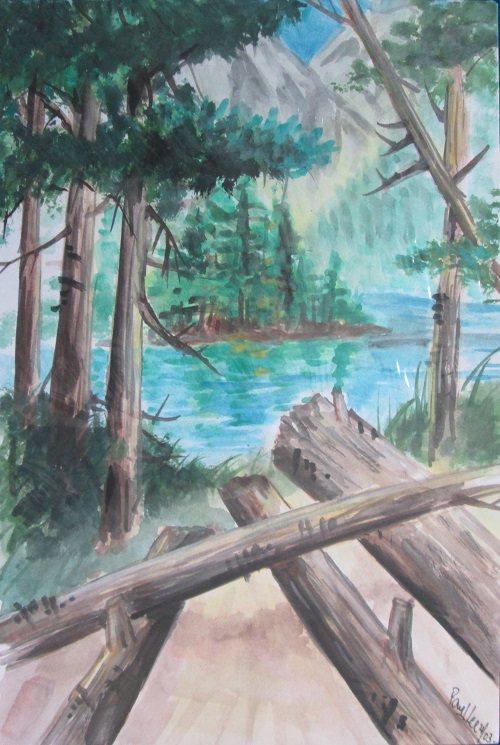 Water colour Forest Lake