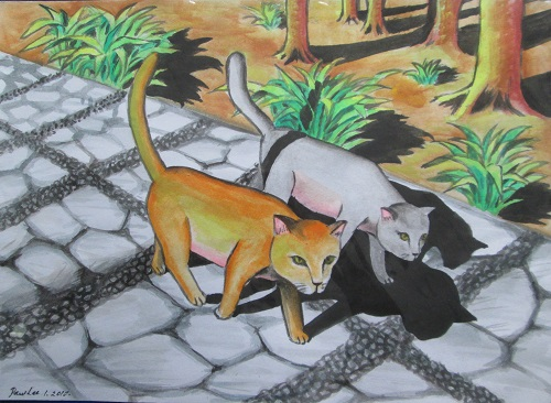 Water Colour Two Cats at the Park