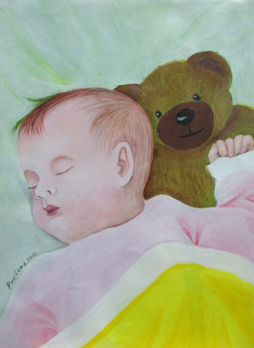 Acrylic Painting Baby Asleep