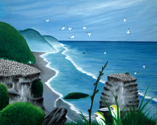 Acrylic Painting New Zealand  Muriwai Gannet Colony