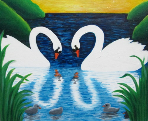 Acrylic Painting Swan Reflection
