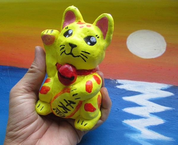 Clay Model coloured Lucky Cat
