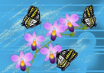 Digital art Orchid and Butterflies
