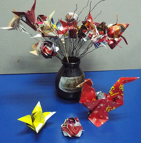 Green Origami Flowers and Rooster