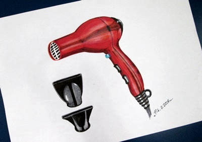 Hair dryer design with marker rendering