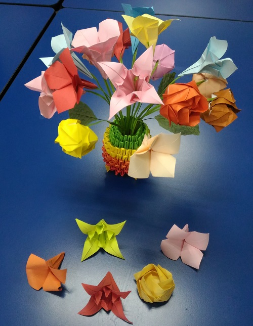 Origami model Bouquet of flowers