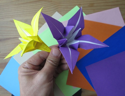 Origami model Lily flowers